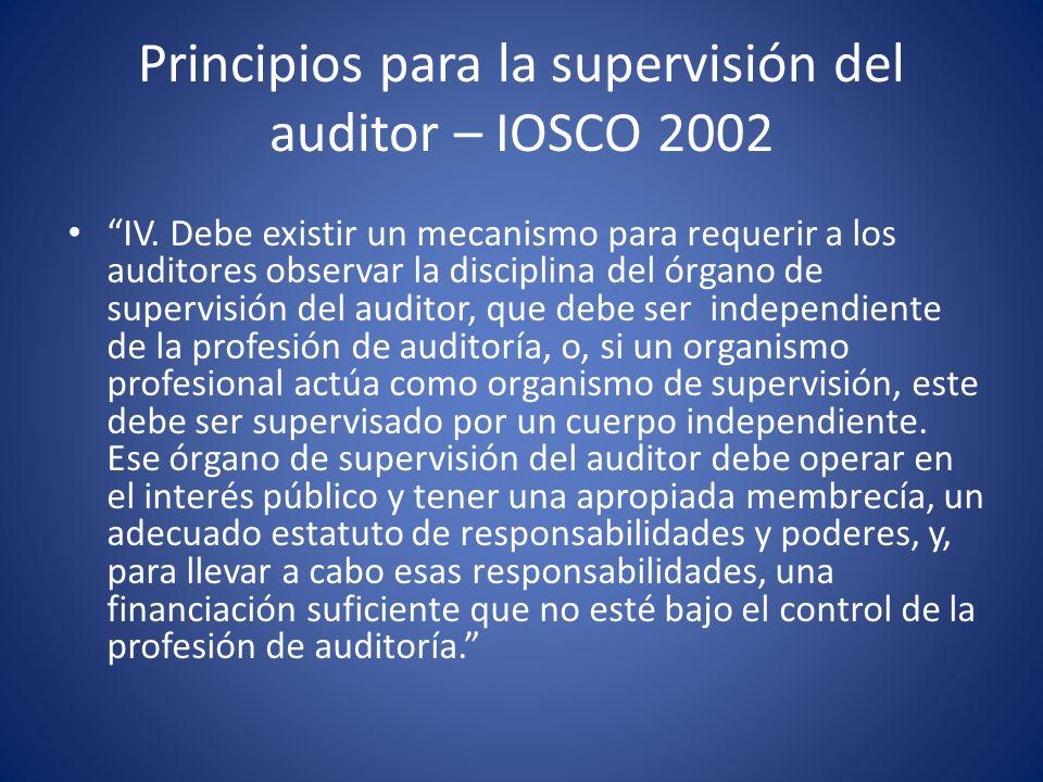 Principios para la supervisión del auditor – IOSCO 2002 Un órgano de supervisión del auditor debe establecer un proceso para llevar a cabo revisiones regulares de los procedimientos y prácticas de auditoría de las empresas que auditan los estados financieros de compañías públicas listadas.