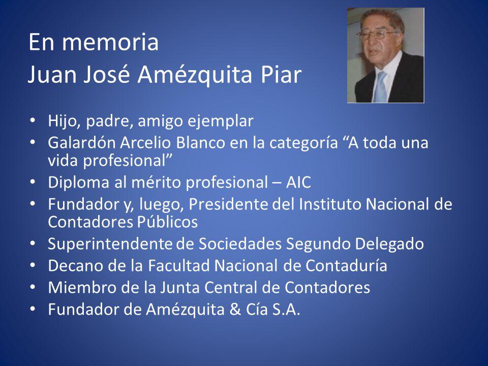 En memoria Juan José Amézquita Piar Miembro de la Comisión redactora del Decreto 2160 de 1986 El 29 de mayo de 1979 culminó la preparación de un proyecto de ley Por el cual se reglamenta la Profesión de Contador Público En ese proyecto propuso la creación del Consejo Técnico de la Contaduría Pública, al que en versiones anteriores había denominado Consejo Técnico Académico de la Contaduría Pública