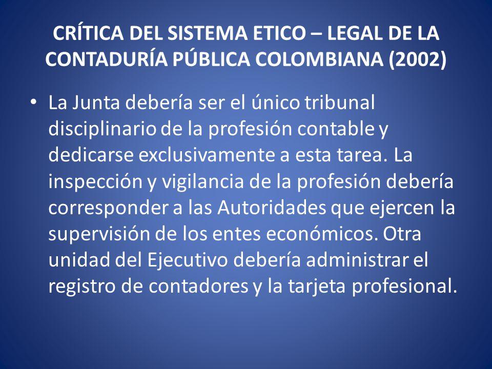 CRÍTICA DEL SISTEMA ETICO – LEGAL DE LA CONTADURÍA PÚBLICA COLOMBIANA (2002) Debe adoptarse un completo y apropiado procedimiento de investigación y juzgamiento, dejando de tomar prestado el procedimiento disciplinario de los funcionarios públicos.