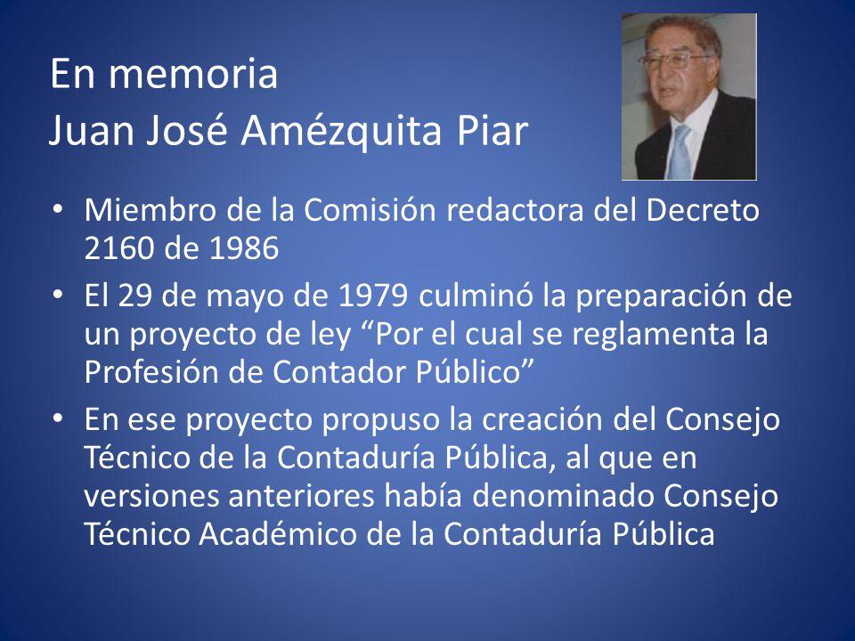 En memoria Juan José Amézquita Piar Gran parte de las propuestas de su proyecto de ley fueron incluidas, por el senador José Ignacio Diaz-Granados, en el pliego de modificaciones al Proyecto 236-S, 39-C de 1984, que, finalmente, se convirtió en la Ley 43 de 1990.
