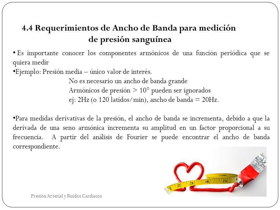 4.4 Requerimientos de Ancho de Banda para medición de presión sanguínea Es importante conocer los componentes armónicos de una función periódica que s