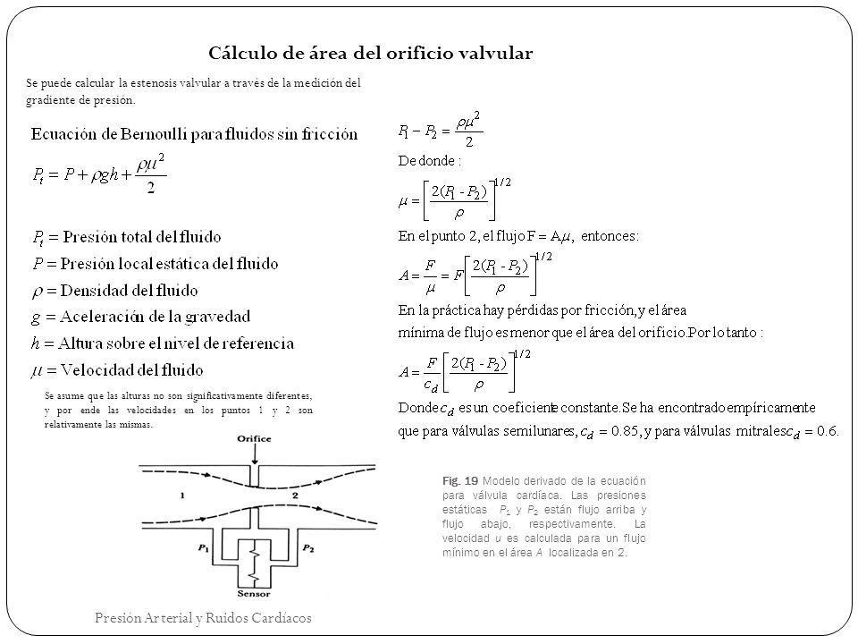 Fig. 19 Modelo derivado de la ecuación para válvula cardíaca. Las presiones estáticas P 1 y P 2 están flujo arriba y flujo abajo, respectivamente. La