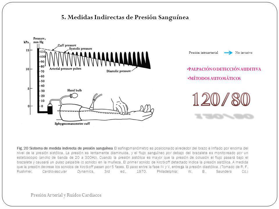 Fig. 20 Sistema de medida indirecta de presión sanguínea El esfingomanómetro es posicionado alrededor del brazo e inflado por encima del nivel de la p