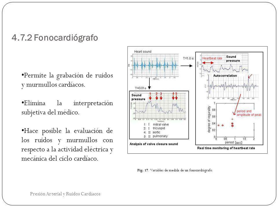 4.7.2 Fonocardiógrafo Presión Arterial y Ruidos Cardíacos Permite la grabación de ruidos y murmullos cardíacos. Elimina la interpretación subjetiva de
