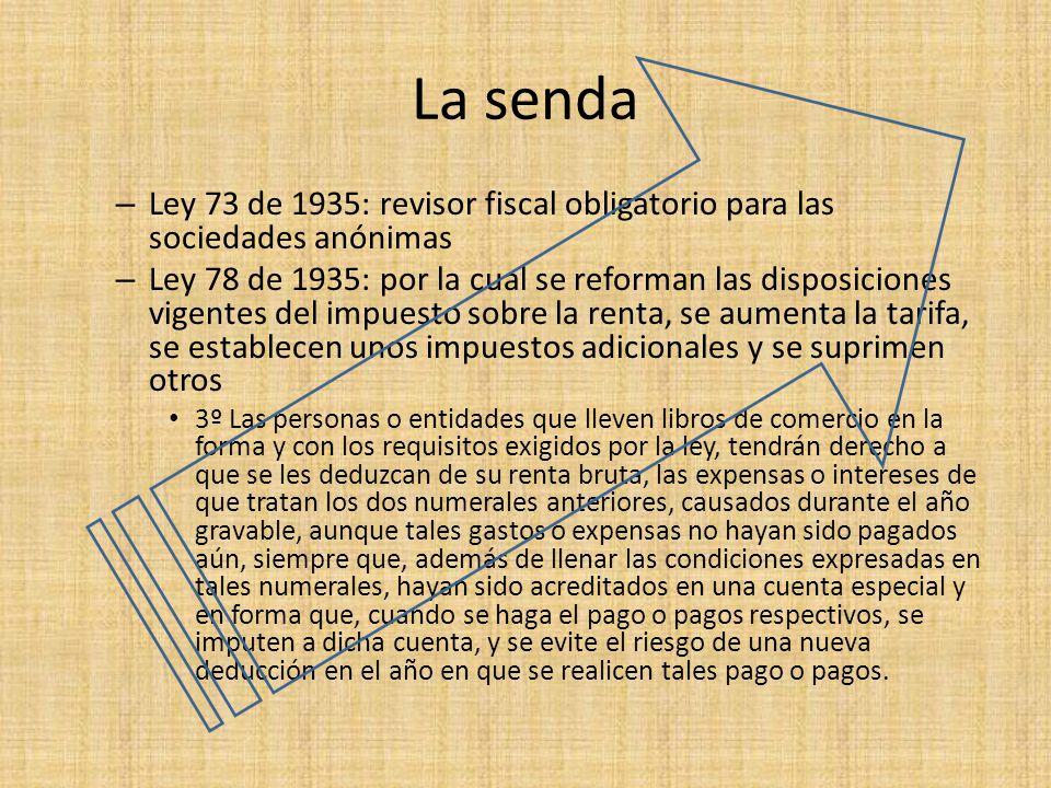 La senda – Ley 73 de 1935: revisor fiscal obligatorio para las sociedades anónimas – Ley 78 de 1935: por la cual se reforman las disposiciones vigente