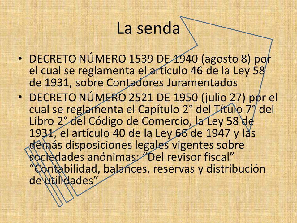 La senda DECRETO NÚMERO 1539 DE 1940 (agosto 8) por el cual se reglamenta el artículo 46 de la Ley 58 de 1931, sobre Contadores Juramentados DECRETO N