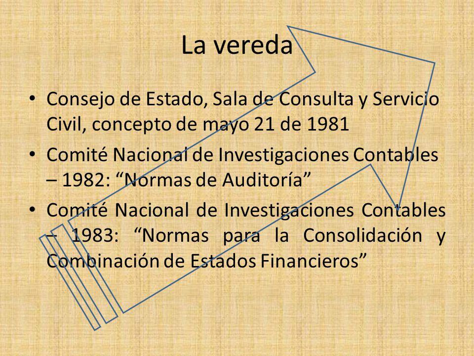 La vereda Consejo de Estado, Sala de Consulta y Servicio Civil, concepto de mayo 21 de 1981 Comité Nacional de Investigaciones Contables – 1982: Norma