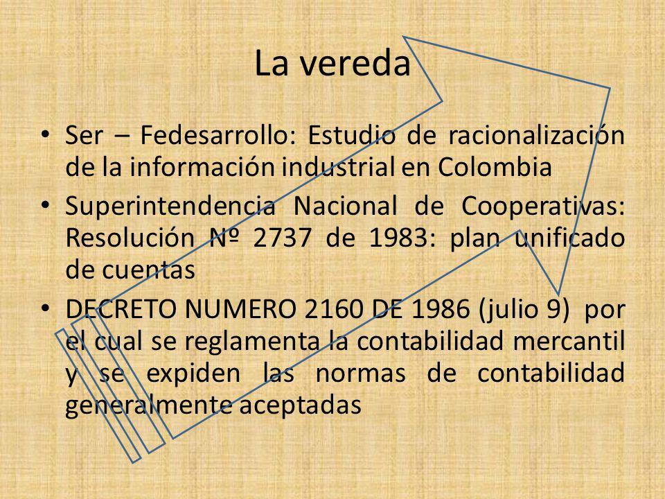 La vereda Ser – Fedesarrollo: Estudio de racionalización de la información industrial en Colombia Superintendencia Nacional de Cooperativas: Resolució