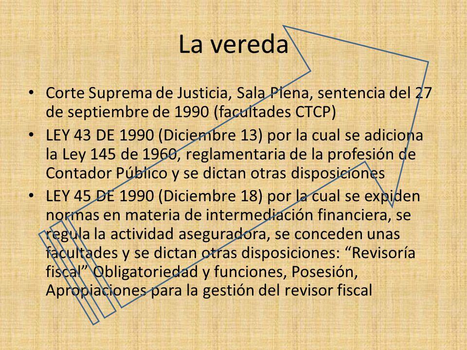 La vereda Corte Suprema de Justicia, Sala Plena, sentencia del 27 de septiembre de 1990 (facultades CTCP) LEY 43 DE 1990 (Diciembre 13) por la cual se
