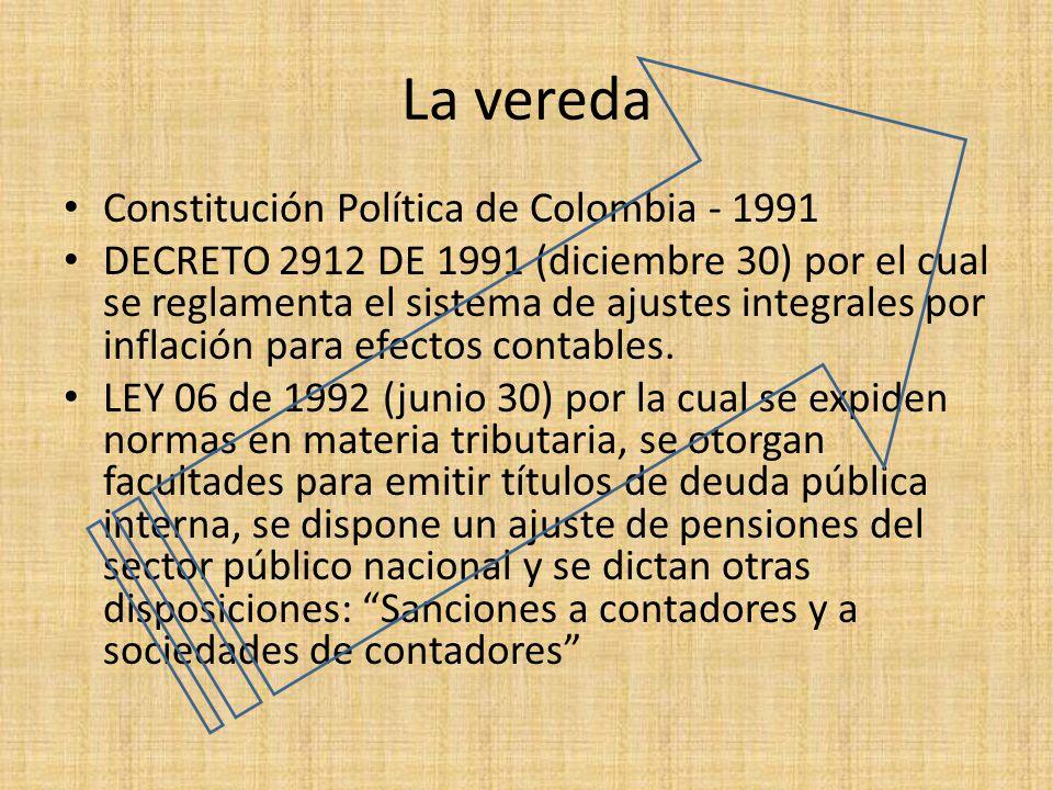 La vereda Constitución Política de Colombia - 1991 DECRETO 2912 DE 1991 (diciembre 30) por el cual se reglamenta el sistema de ajustes integrales por