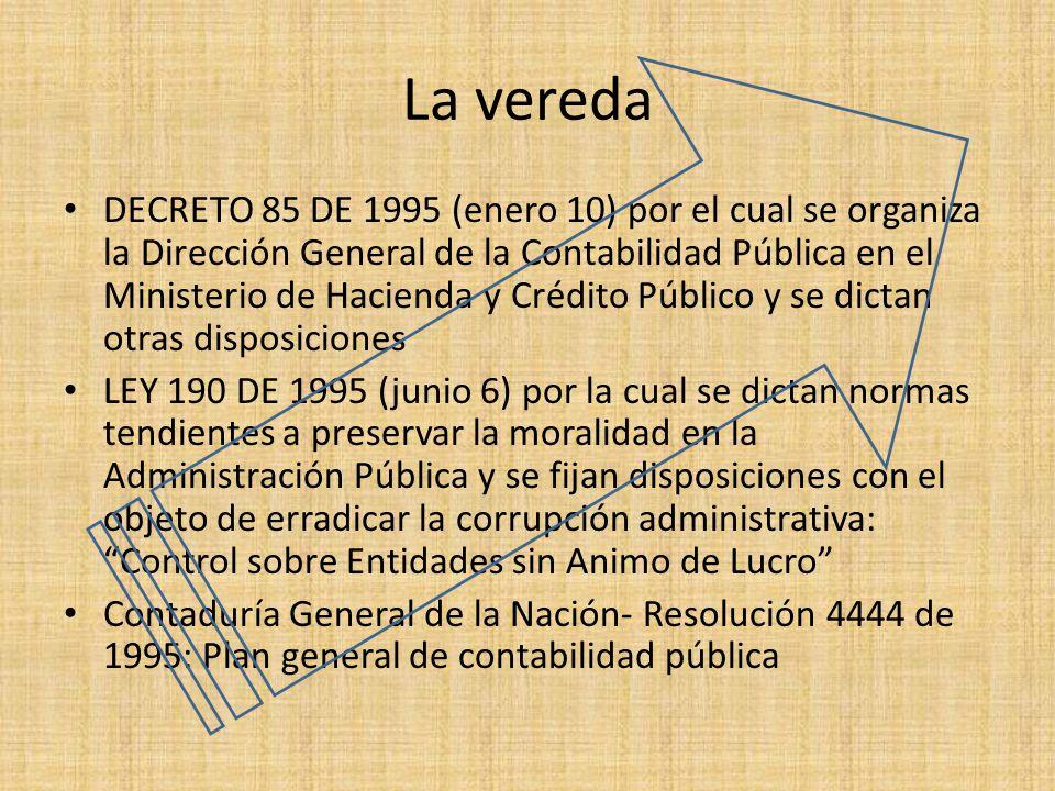 La vereda DECRETO 85 DE 1995 (enero 10) por el cual se organiza la Dirección General de la Contabilidad Pública en el Ministerio de Hacienda y Crédito