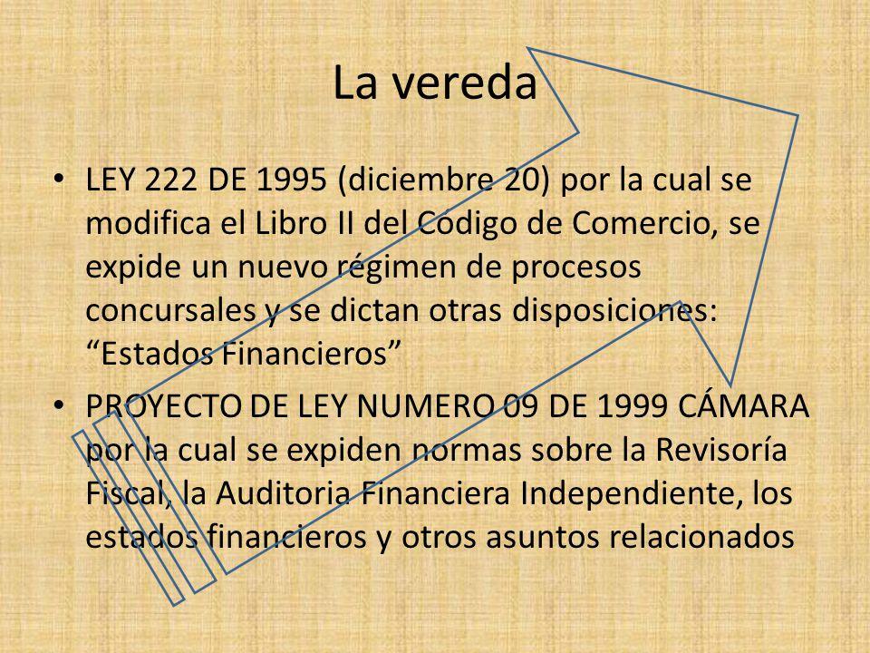 La vereda LEY 222 DE 1995 (diciembre 20) por la cual se modifica el Libro II del Código de Comercio, se expide un nuevo régimen de procesos concursale