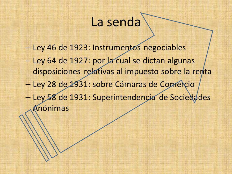 La senda – Ley 46 de 1923: Instrumentos negociables – Ley 64 de 1927: por la cual se dictan algunas disposiciones relativas al impuesto sobre la renta