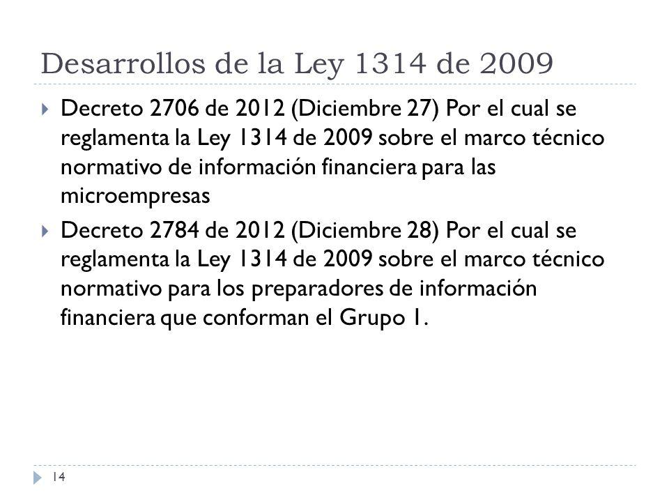Desarrollos de la Ley 1314 de 2009 Decreto 2706 de 2012 (Diciembre 27) Por el cual se reglamenta la Ley 1314 de 2009 sobre el marco técnico normativo