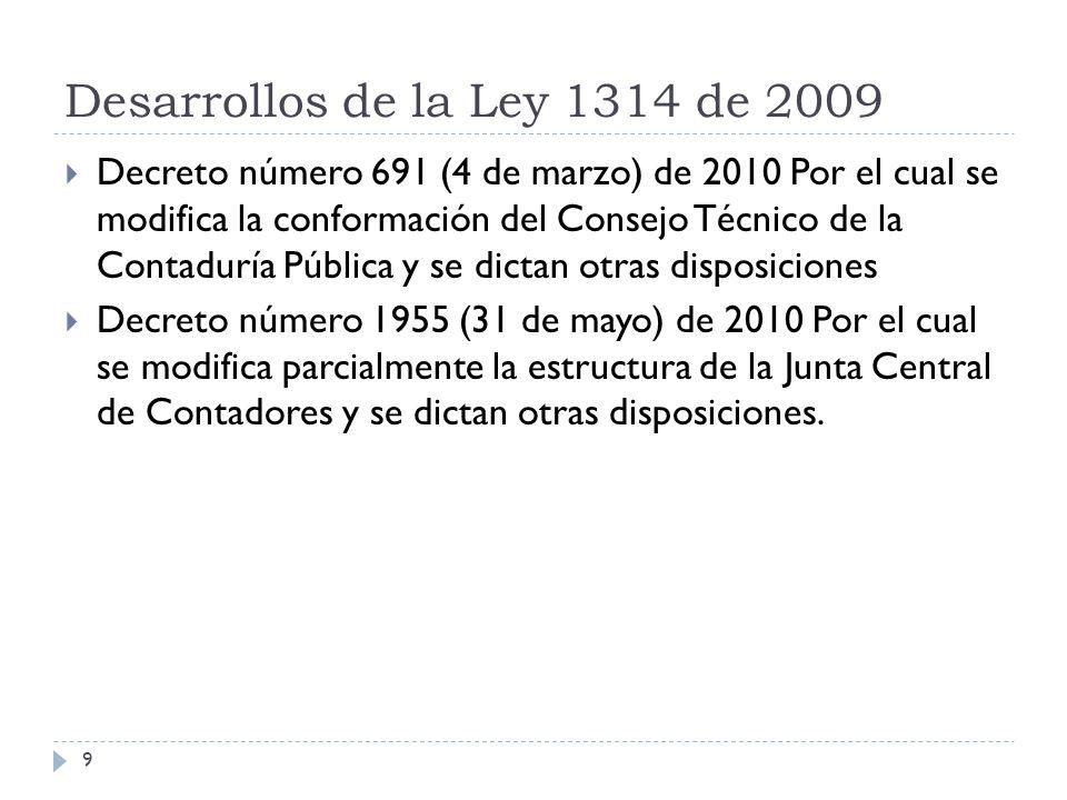 Desarrollos de la Ley 1314 de 2009 Ley 1450 de 2011 (16 de junio) Por la cual se expide el Plan Nacional de Desarrollo 2010 – 2014 Decreto 3048 de 2011 (23 de agosto) Por el cual se crea la Comisión Intersectorial de Normas de Contabilidad, de Información Financiera y de Aseguramiento de la Información 10