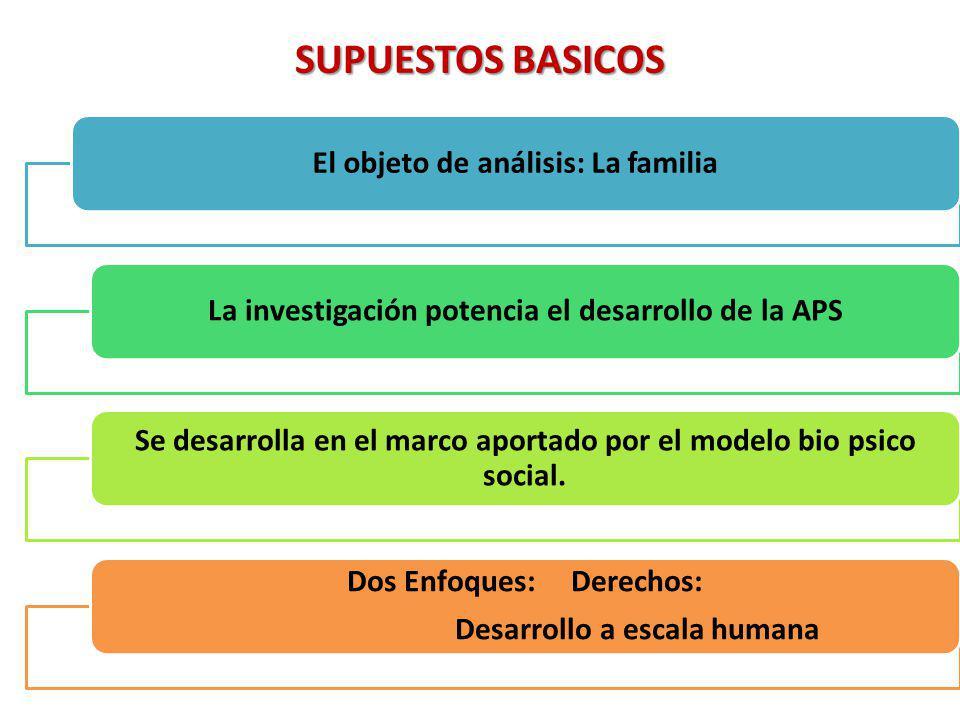 SUPUESTOS BASICOS El objeto de análisis: La familiaLa investigación potencia el desarrollo de la APS Se desarrolla en el marco aportado por el modelo bio psico social.