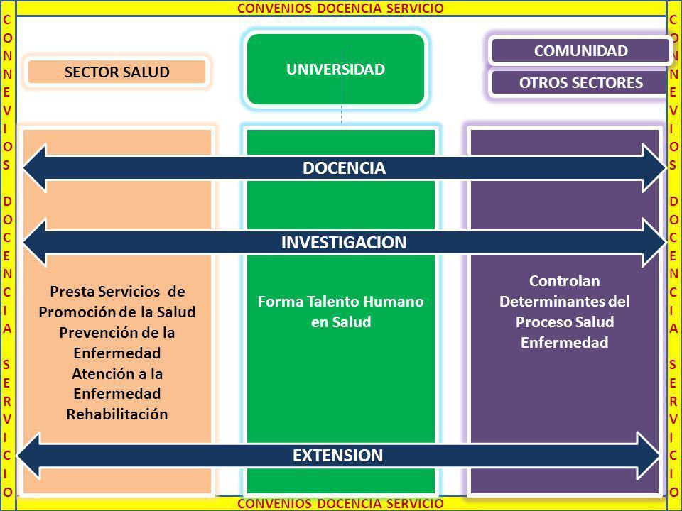 UNIVERSIDAD OTROS SECTORES CONNEVIOS DOCENCIA SERVICIOCONNEVIOS DOCENCIA SERVICIO CONNEVIOS DOCENCIA SERVICIOCONNEVIOS DOCENCIA SERVICIO CONVENIOS DOCENCIA SERVICIO Forma Talento Humano en Salud Presta Servicios de Promoción de la Salud Prevención de la Enfermedad Atención a la Enfermedad Rehabilitación Controlan Determinantes del Proceso Salud Enfermedad SECTOR SALUD DOCENCIA EXTENSION INVESTIGACION COMUNIDAD