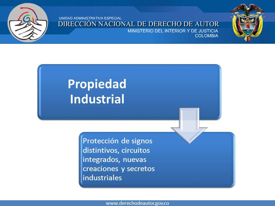 www.derechodeautor.gov.co Propiedad Industrial Protección de signos distintivos, circuitos integrados, nuevas creaciones y secretos industriales