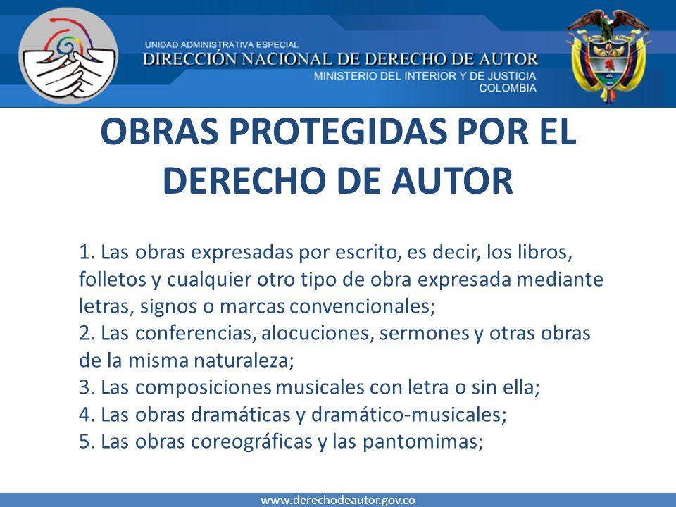 OBRAS PROTEGIDAS POR EL DERECHO DE AUTOR 1.