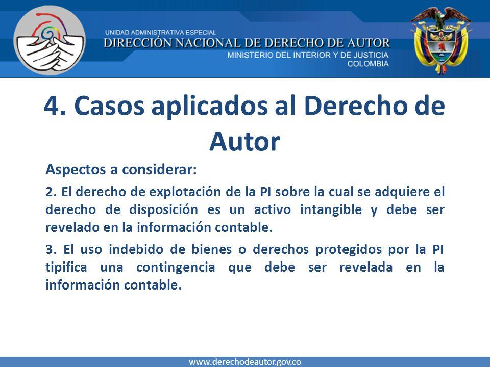 4. Casos aplicados al Derecho de Autor Aspectos a considerar: 2. El derecho de explotación de la PI sobre la cual se adquiere el derecho de disposició