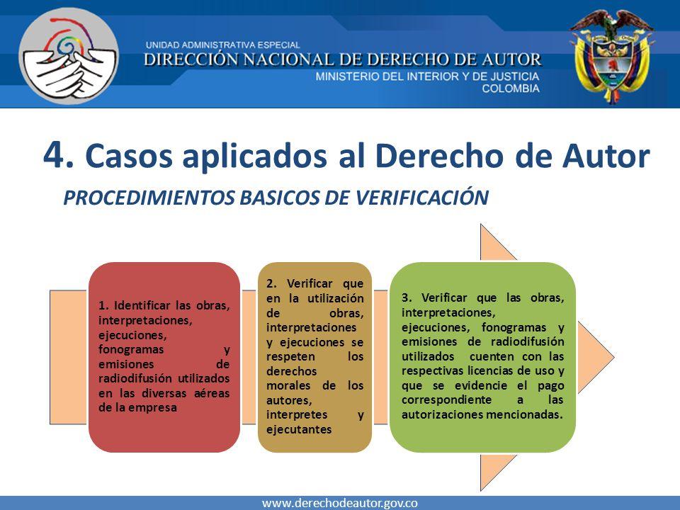 4. Casos aplicados al Derecho de Autor PROCEDIMIENTOS BASICOS DE VERIFICACIÓN www.derechodeautor.gov.co 1. Identificar las obras, interpretaciones, ej