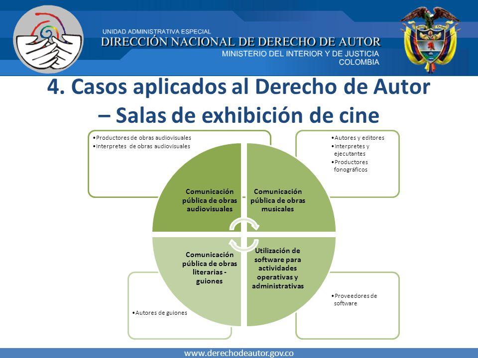 4. Casos aplicados al Derecho de Autor – Salas de exhibición de cine www.derechodeautor.gov.co Proveedores de software Autores de guiones Autores y ed