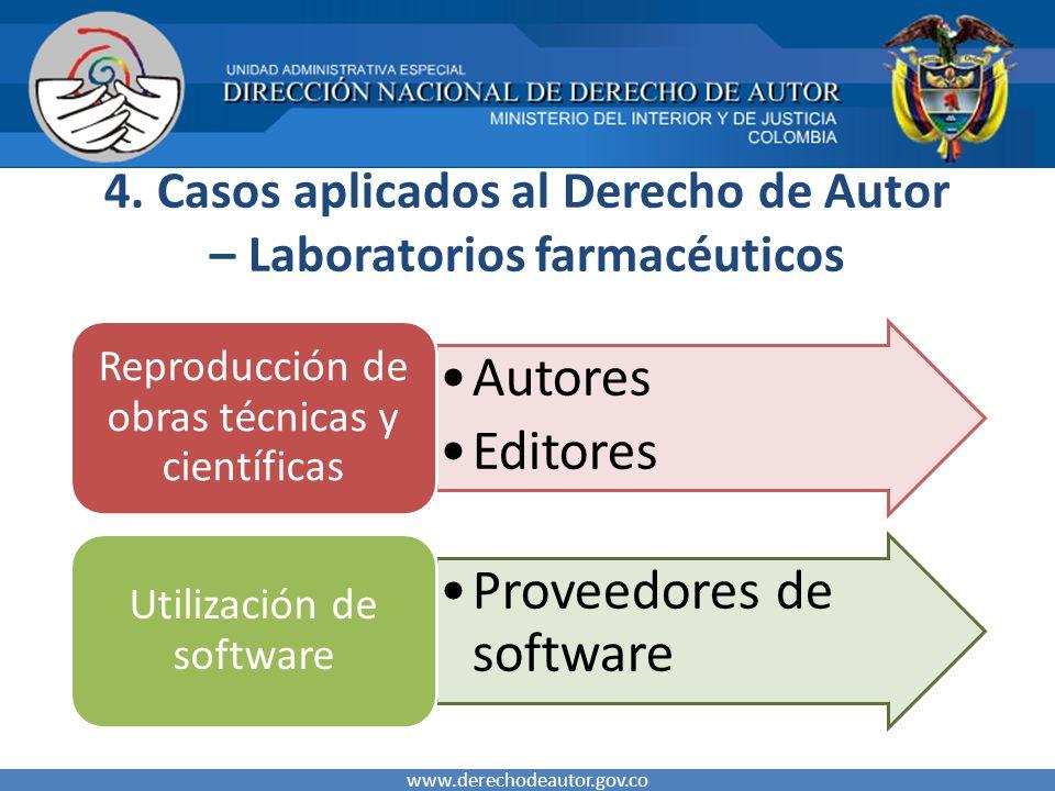 4. Casos aplicados al Derecho de Autor – Laboratorios farmacéuticos www.derechodeautor.gov.co Autores Editores Reproducción de obras técnicas y cientí