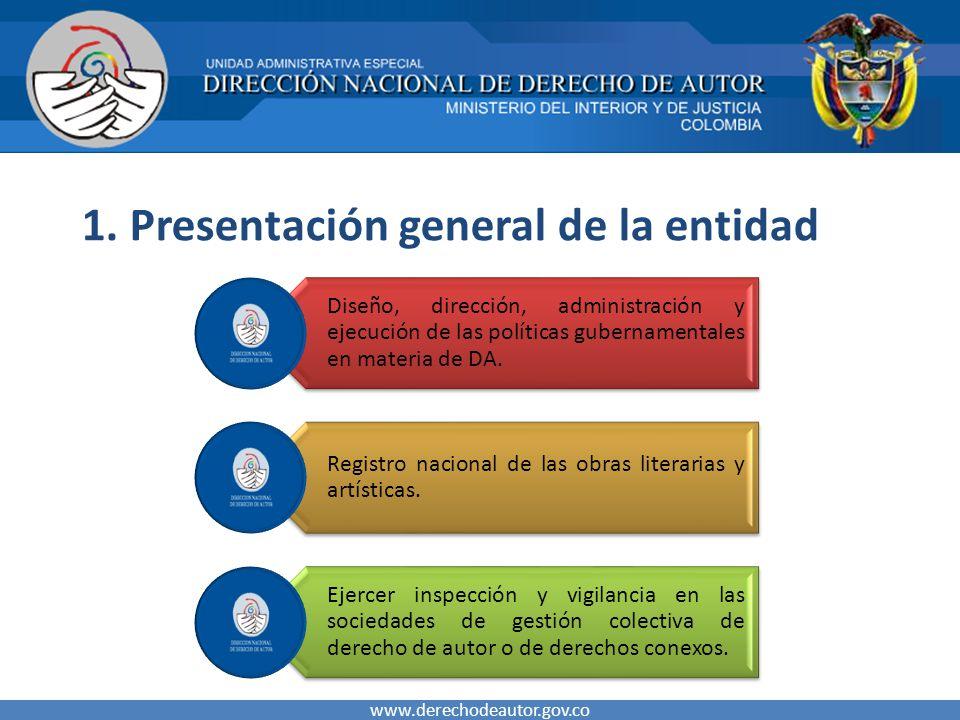 1. Presentación general de la entidad www.derechodeautor.gov.co Diseño, dirección, administración y ejecución de las políticas gubernamentales en mate