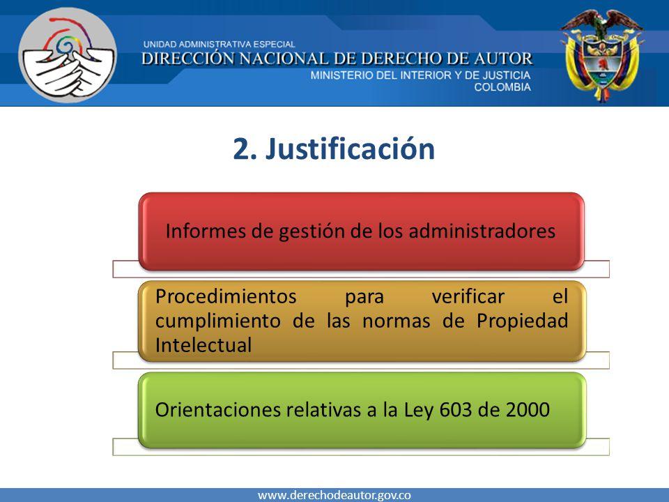 2. Justificación www.derechodeautor.gov.co Informes de gestión de los administradores Procedimientos para verificar el cumplimiento de las normas de P