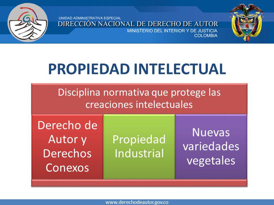 PROPIEDAD INTELECTUAL www.derechodeautor.gov.co Disciplina normativa que protege las creaciones intelectuales Derecho de Autor y Derechos Conexos Propiedad Industrial Nuevas variedades vegetales