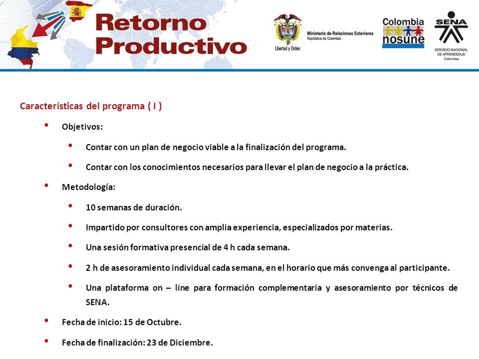 Características del programa ( II ) Contenidos: 1.