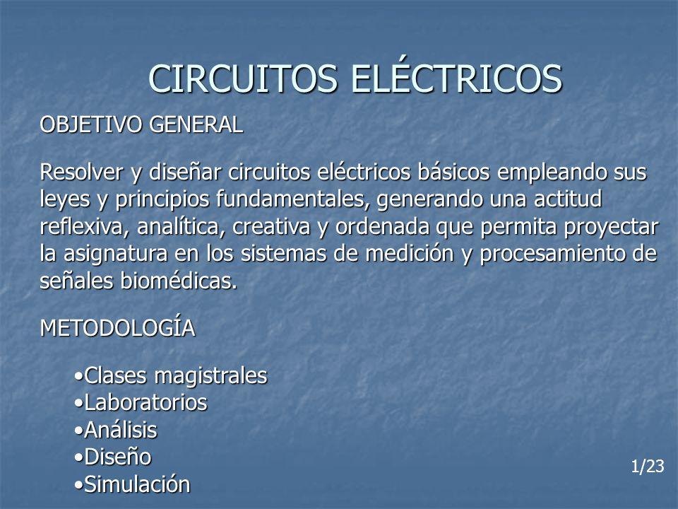 CIRCUITOS ELÉCTRICOS OBJETIVO GENERAL Resolver y diseñar circuitos eléctricos básicos empleando sus leyes y principios fundamentales, generando una ac