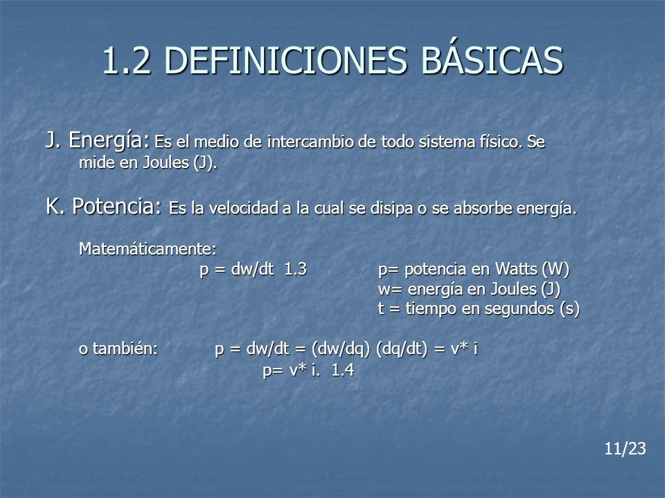 1.2 DEFINICIONES BÁSICAS 11/23 J. Energía: Es el medio de intercambio de todo sistema físico. Se mide en Joules (J). K. Potencia: Es la velocidad a la