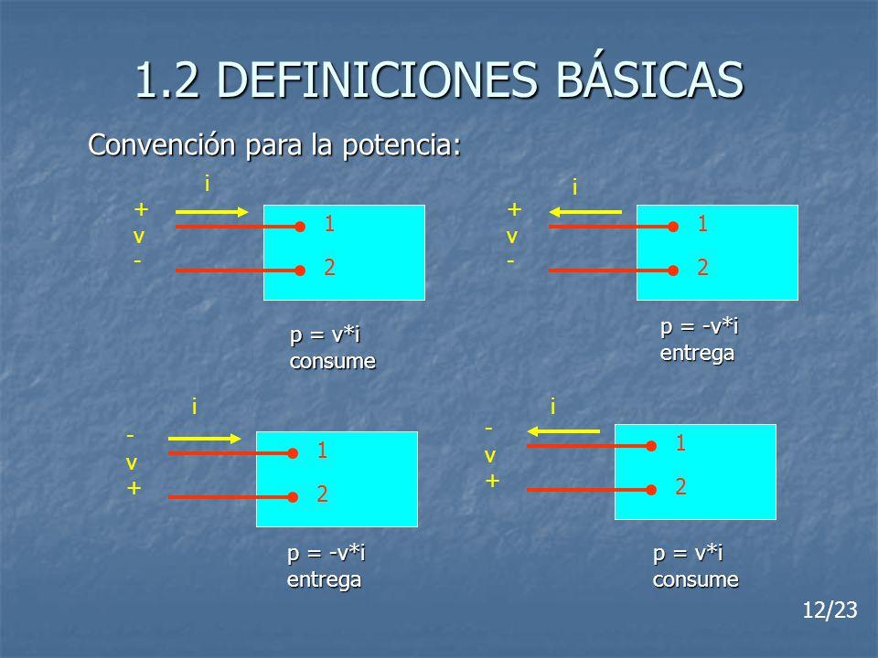 1.2 DEFINICIONES BÁSICAS 1 2 +v-+v- 1 2 -v+-v+ 1 2 +v-+v- 1 2 -v+-v+ Convención para la potencia: i i ii p = v*i consume p = -v*i entrega entrega p =