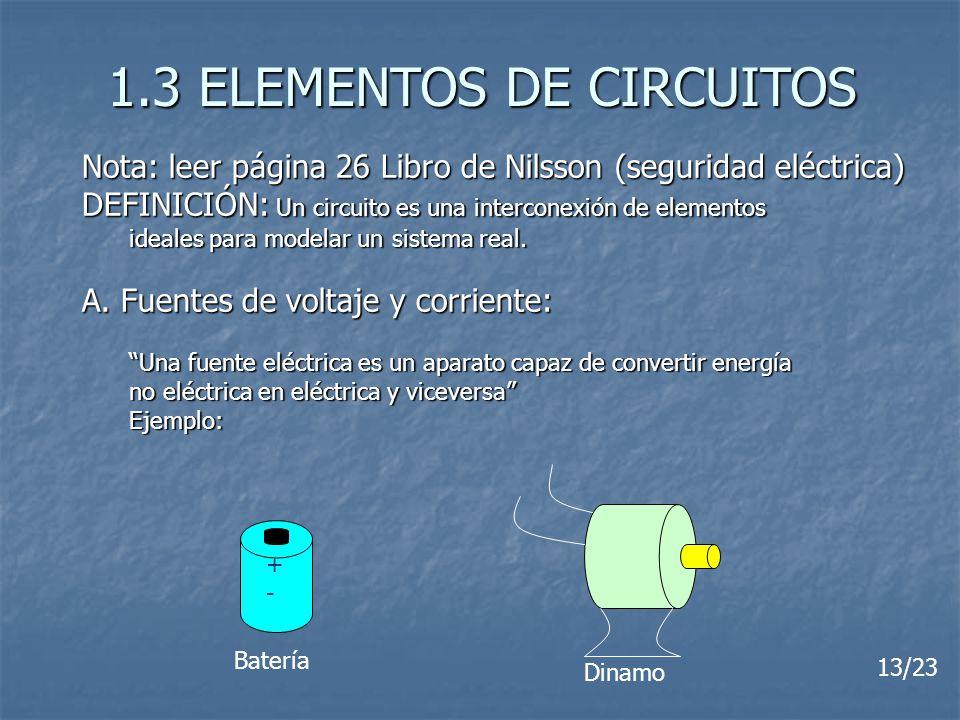 1.3 ELEMENTOS DE CIRCUITOS Nota: leer página 26 Libro de Nilsson (seguridad eléctrica) DEFINICIÓN: Un circuito es una interconexión de elementos ideal