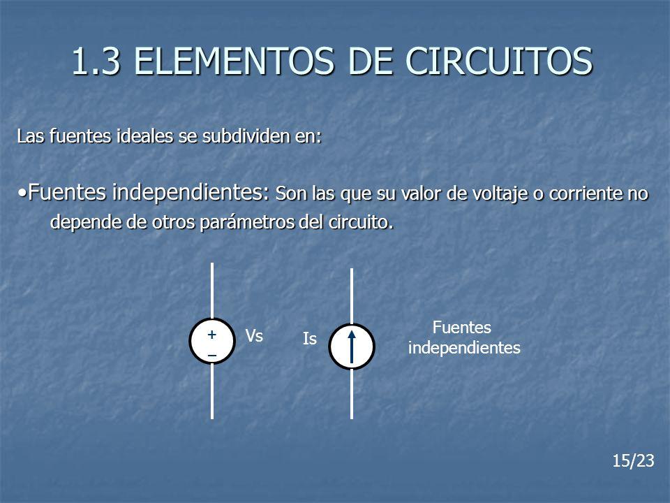 1.3 ELEMENTOS DE CIRCUITOS Las fuentes ideales se subdividen en: Fuentes independientes: Son las que su valor de voltaje o corriente noFuentes indepen