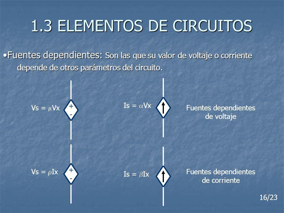 1.3 ELEMENTOS DE CIRCUITOS Fuentes dependientes: Son las que su valor de voltaje o corrienteFuentes dependientes: Son las que su valor de voltaje o co