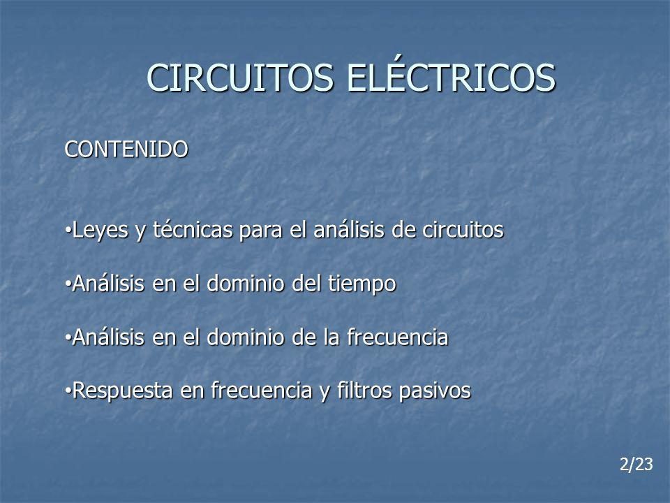 CIRCUITOS ELÉCTRICOS CONTENIDO Leyes y técnicas para el análisis de circuitos Leyes y técnicas para el análisis de circuitos Análisis en el dominio de