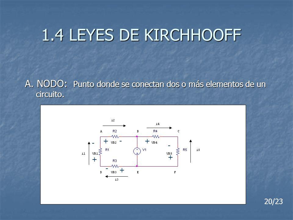 1.4 LEYES DE KIRCHHOOFF A. NODO: Punto donde se conectan dos o más elementos de un circuito. 20/23 - + - + + + + - - -