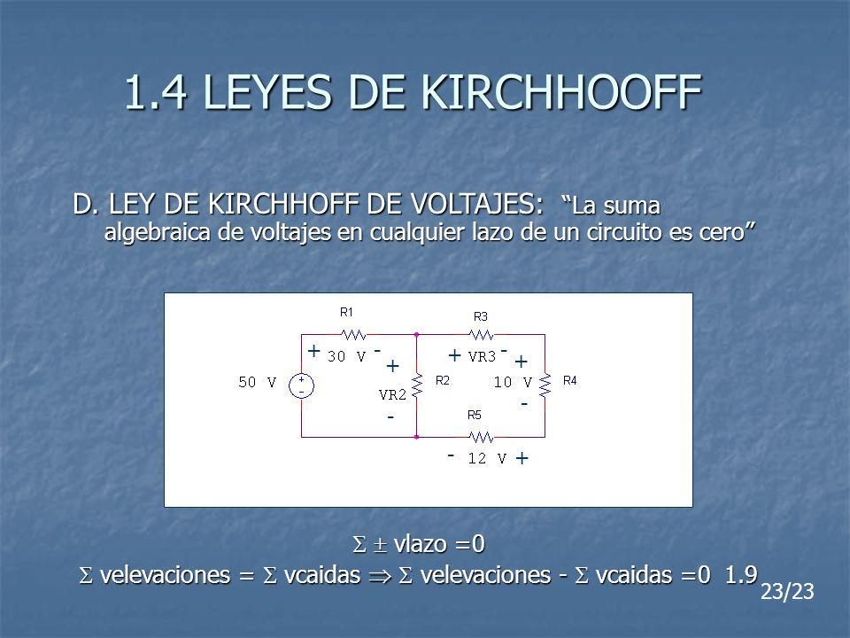 1.4 LEYES DE KIRCHHOOFF D. LEY DE KIRCHHOFF DE VOLTAJES: La suma algebraica de voltajes en cualquier lazo de un circuito es cero vlazo =0 vlazo =0 vel