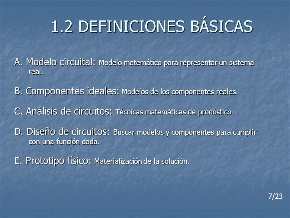 1.2 DEFINICIONES BÁSICAS A. Modelo circuital: Modelo matemático para representar un sistema real. B. Componentes ideales: Modelos de los componentes r