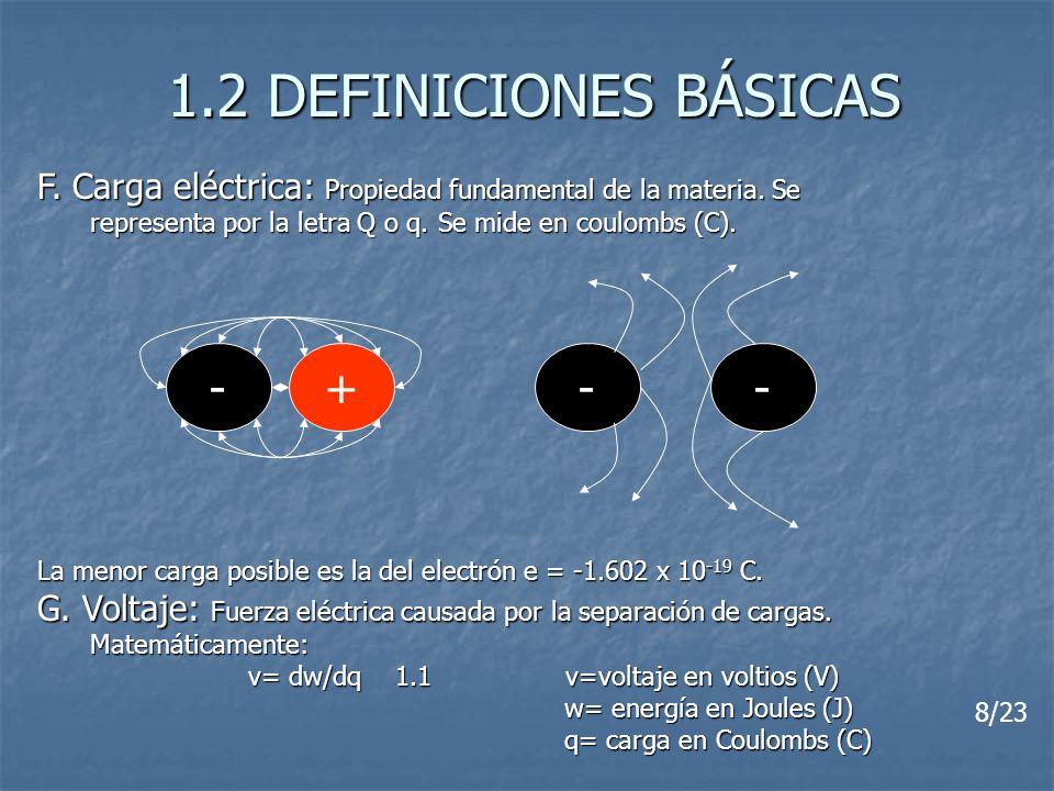 1.2 DEFINICIONES BÁSICAS F. Carga eléctrica: Propiedad fundamental de la materia. Se representa por la letra Q o q. Se mide en coulombs (C). La menor