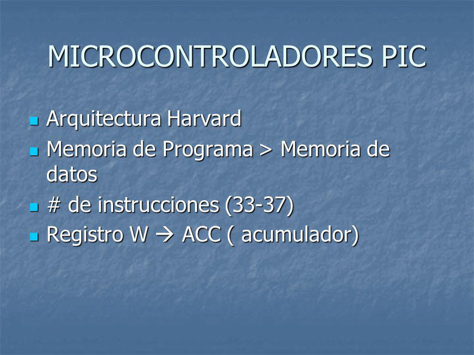 MICROCONTROLADORES PIC Arquitectura Harvard Arquitectura Harvard Memoria de Programa > Memoria de datos Memoria de Programa > Memoria de datos # de in