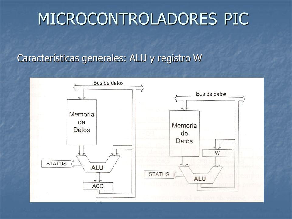 MICROCONTROLADORES PIC Características generales: ALU y registro W