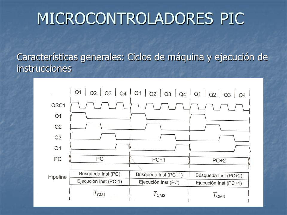 MICROCONTROLADORES PIC Características generales: Ciclos de máquina y ejecución de instrucciones