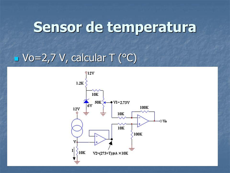 Sensor de temperatura Vo=2,7 V, calcular T (°C) Vo=2,7 V, calcular T (°C)