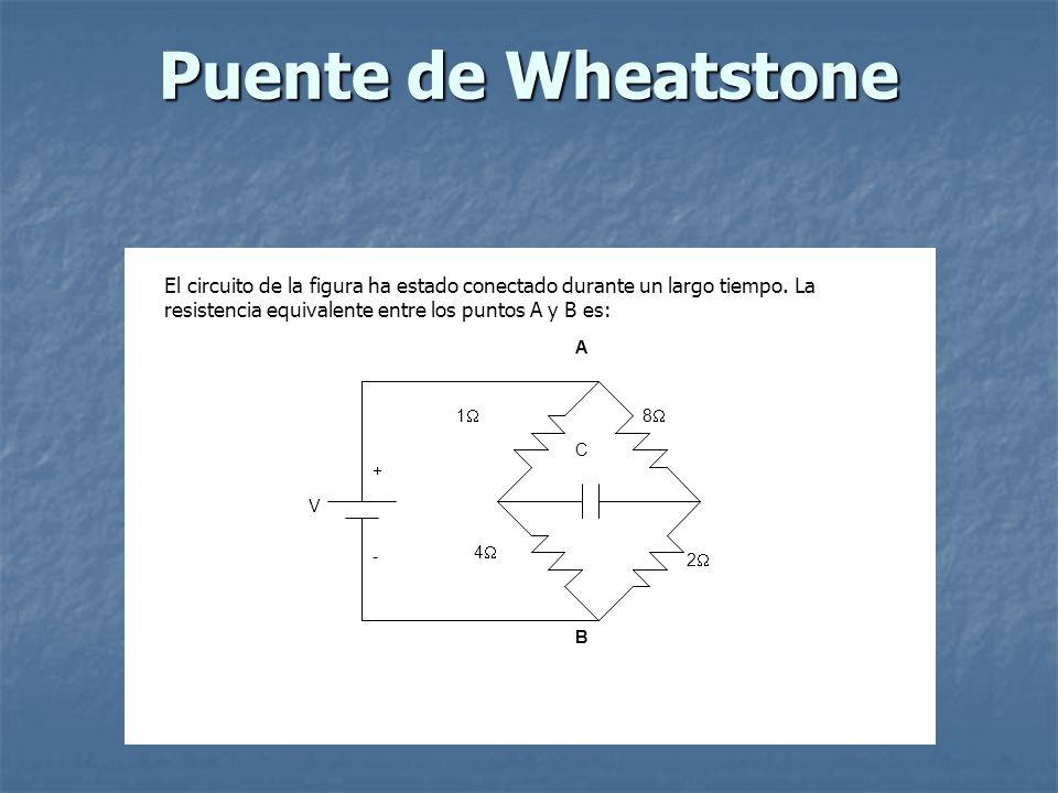 Puente de Wheatstone C 1 4 2 8 V +-+- A B El circuito de la figura ha estado conectado durante un largo tiempo. La resistencia equivalente entre los p