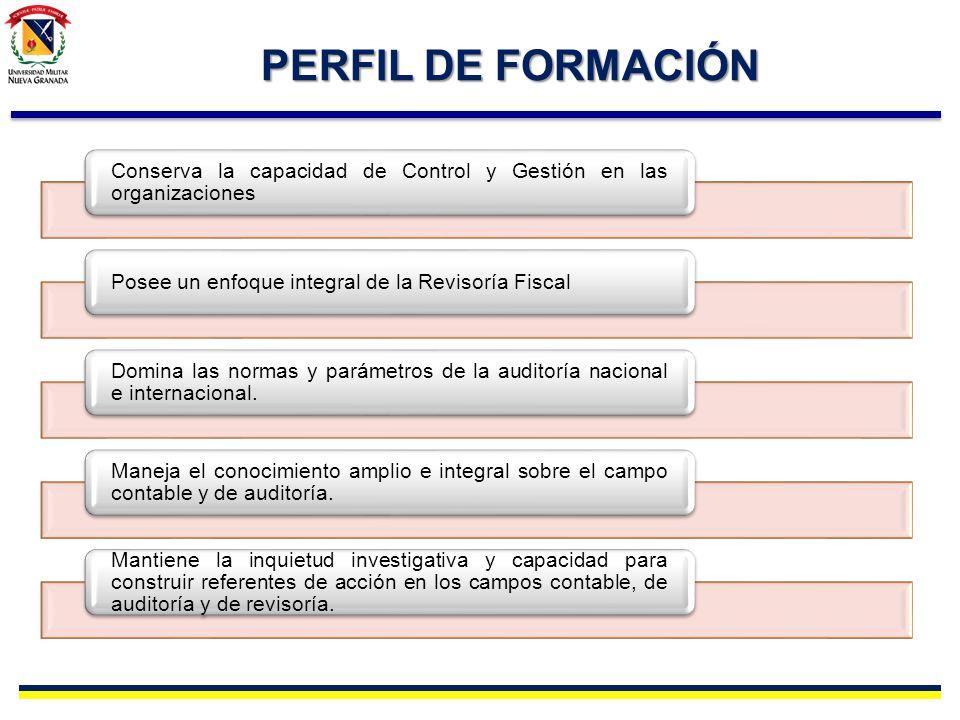 PERFIL DE FORMACIÓN Conserva la capacidad de Control y Gestión en las organizaciones Posee un enfoque integral de la Revisoría Fiscal Domina las norma