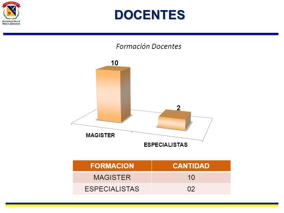 DOCENTES FORMACIONCANTIDAD MAGISTER10 ESPECIALISTAS02 Formación Docentes