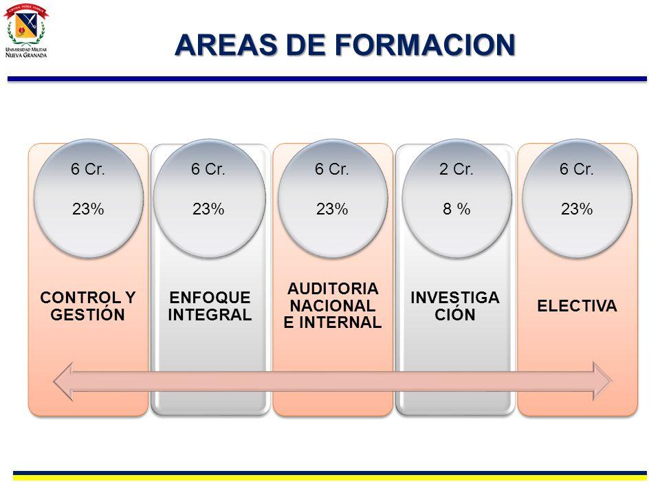 AREAS DE FORMACION CONTROL Y GESTIÓN ENFOQUE INTEGRAL AUDITORIA NACIONAL E INTERNAL INVESTIGA CIÓN ELECTIVA 6 Cr. 23% 6 Cr. 23% 6 Cr. 23% 6 Cr. 23% 6